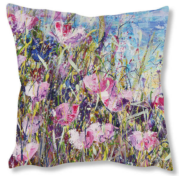 Faux Suede Art Cushion - Pink Meadow