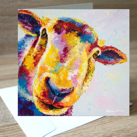 Baasil Sheep blank greetings card
