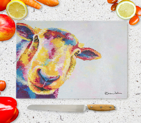 Glass Chopping Board of 'Baasil Sheep'