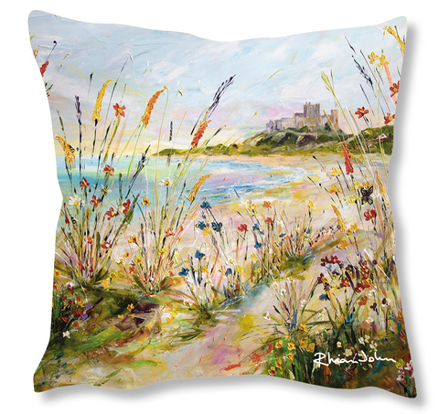Faux Suede Art Cushion - Castle View