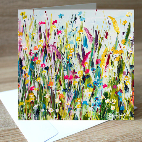 Green Meadow blank greetings card