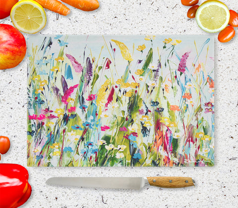 Glass Chopping Board of Green Meadow