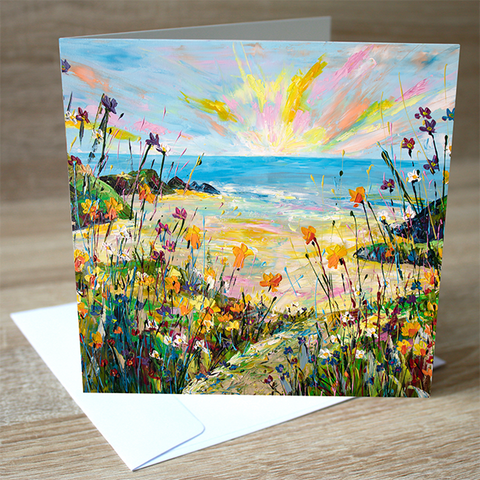 'Coastal Daffs' blank greetings card