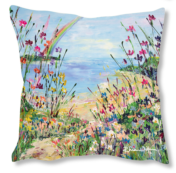 Faux Suede Art Cushion - Over The Rainbow