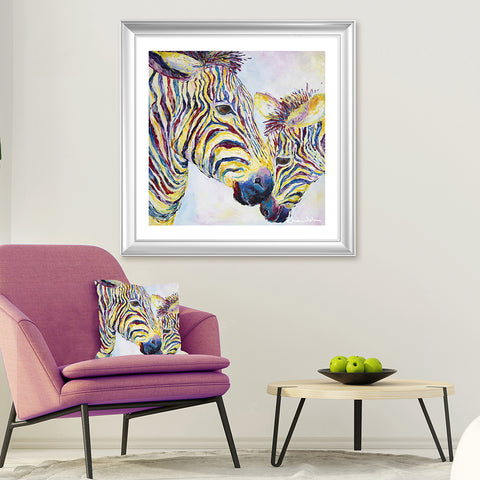Print on Paper of Two Zebras
