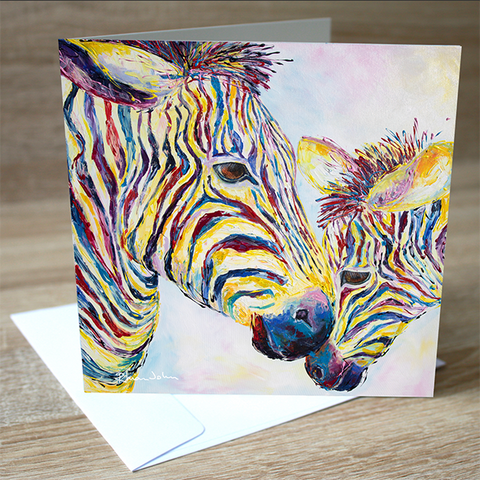 'Zebras' blank greetings card