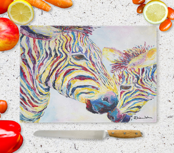 Glass Chopping Board of Zebras