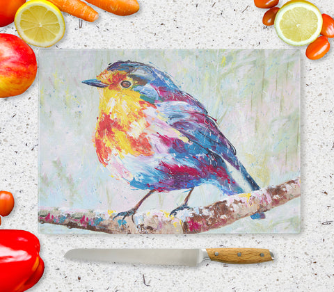 Glass Chopping Board of Robin