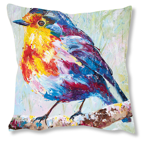 Faux Suede Art Cushion - Robin
