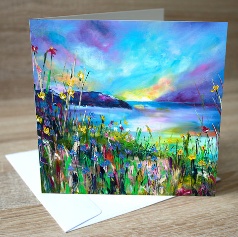 'Evening Sunset' blank greetings card