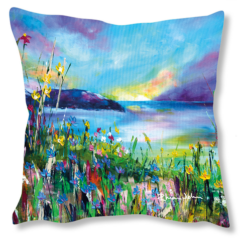 Faux Suede Art Cushion - Evening Sunset