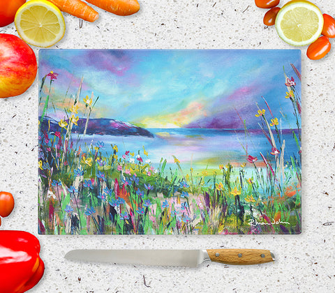 Glass Chopping Board of 'Evening Sunset'