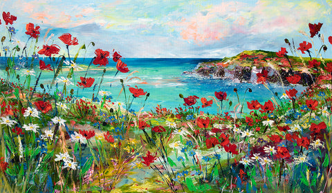 122x71cm Original painting on canvas Poppy Cove