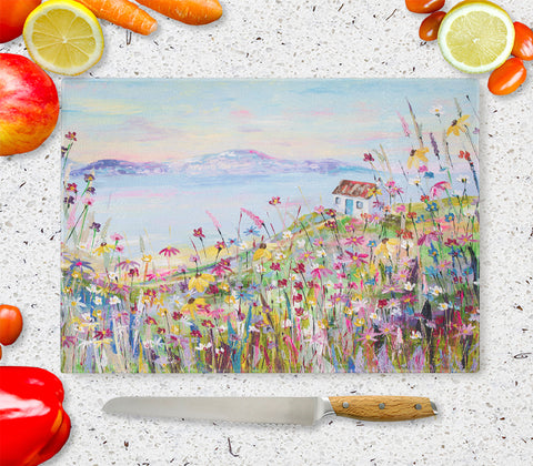 Glass Chopping Board of Coastal Retreat