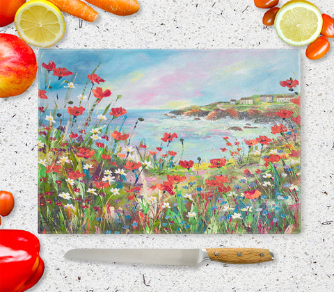 Glass Chopping Board of Hilltop View