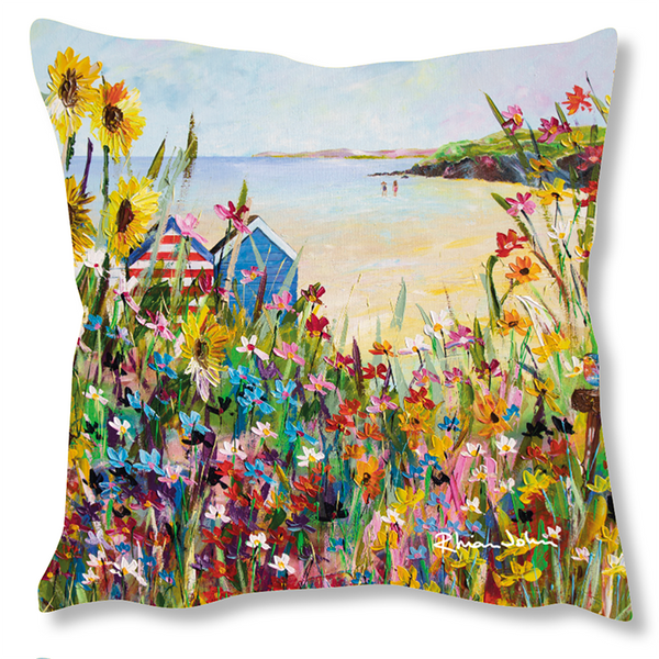 Faux Suede Art Cushion - Perfect Summer