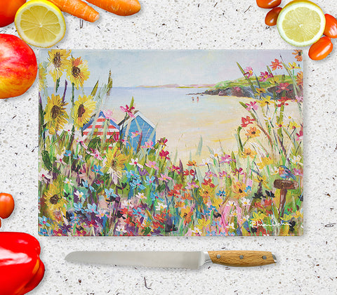 Glass Chopping Board of 'Perfect Summer'