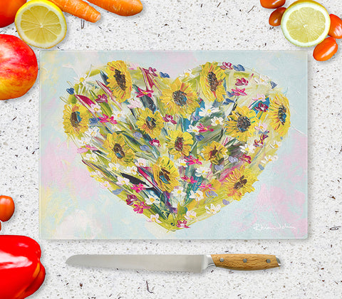 Glass Chopping Board of 'All My Love'