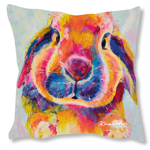 Faux Suede Art Cushion - Flopsy Bunny