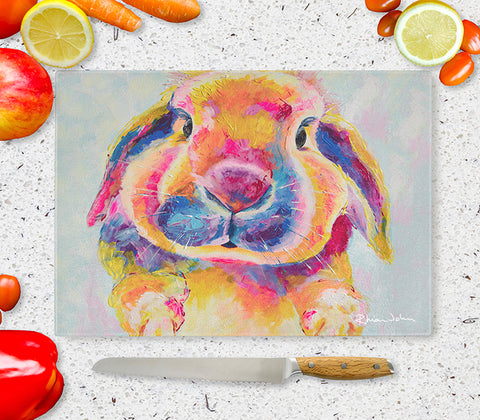 Glass Chopping Board of 'Flopsy Bunny'