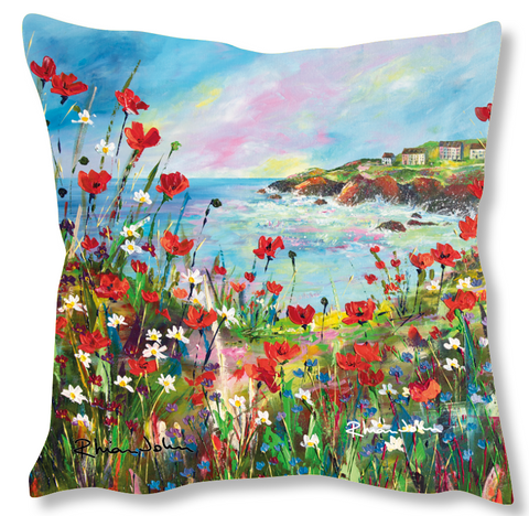 Faux Suede Art Cushion - Hilltop View
