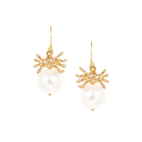 Spider White Pearl Earrings