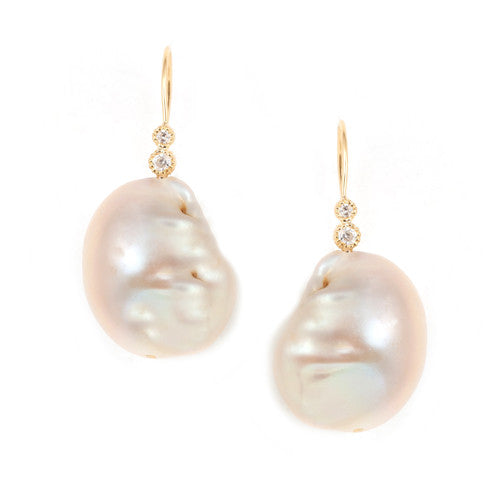 Blush Freshwater Pearls with Diamonds