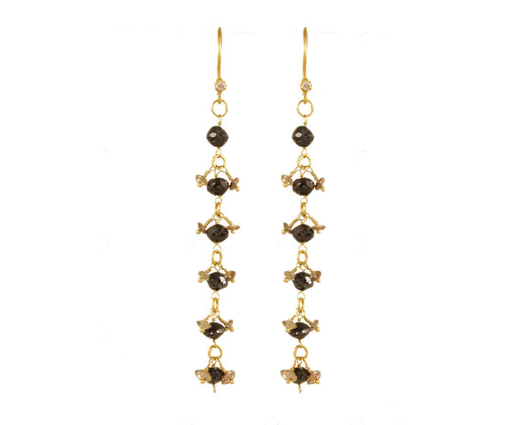 6-Drop Black Diamond Earrings