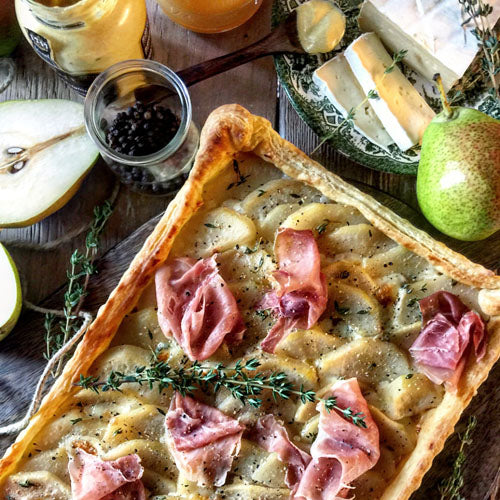 Savoury Pear Brie and Prosciutto Tart