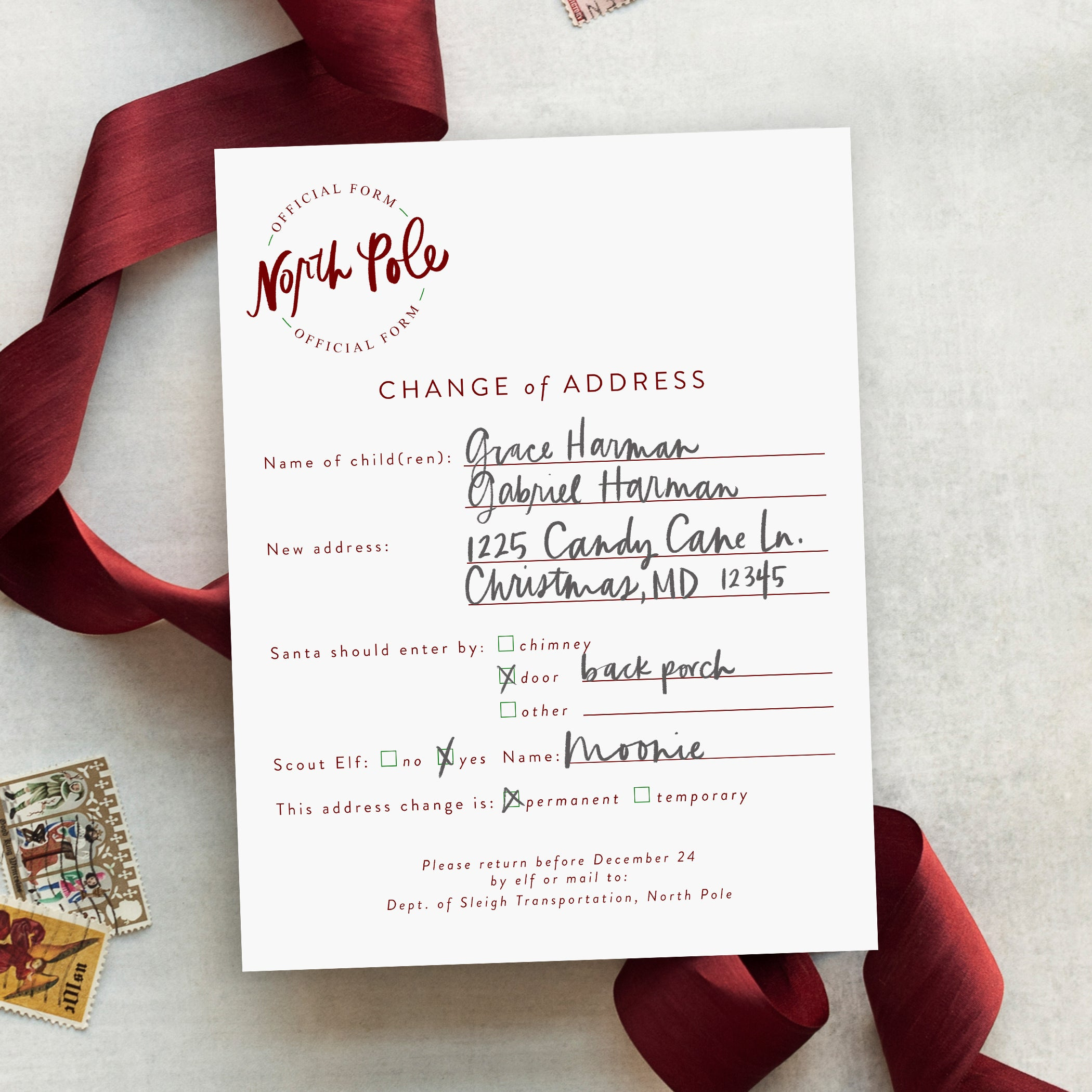 North Pole Change of Address Form - Printable