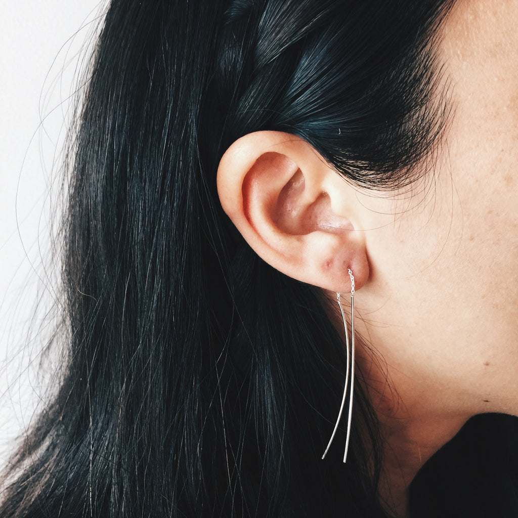 Curved Stem Threader Earrings