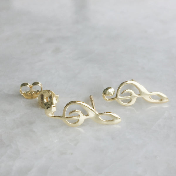 Gold Musical Note Studs