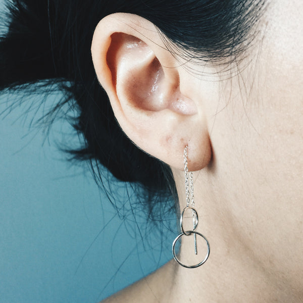 Layered Circle Threader Earrings