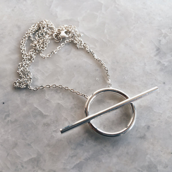 Circle With Bar Pendant Necklace