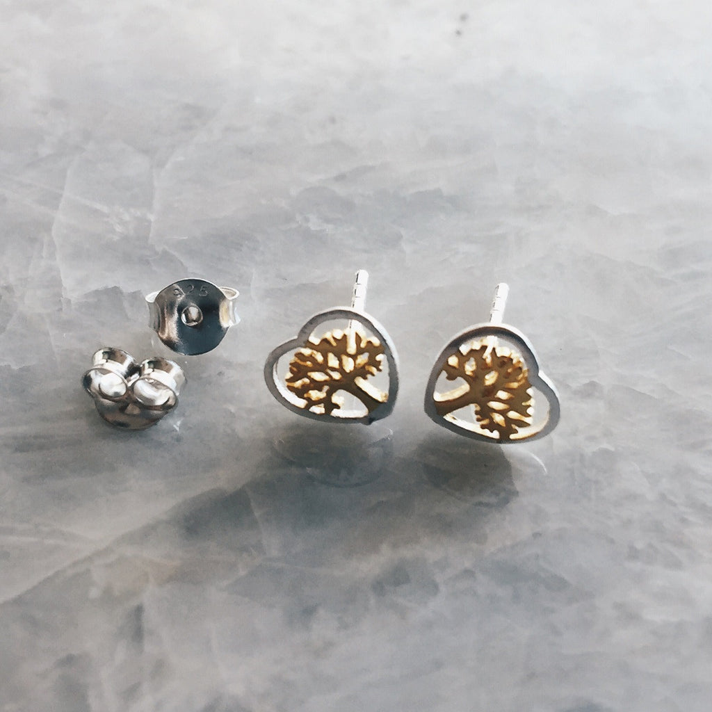 Gold And SIlver Heart Tree of Life Studs