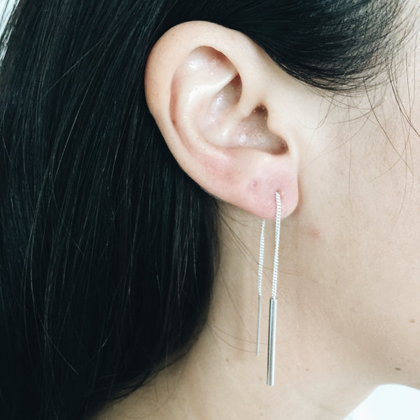 Minimal Bar Threader Earrings
