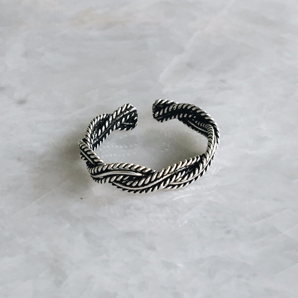 Oxidized Braided Rope Toe Ring