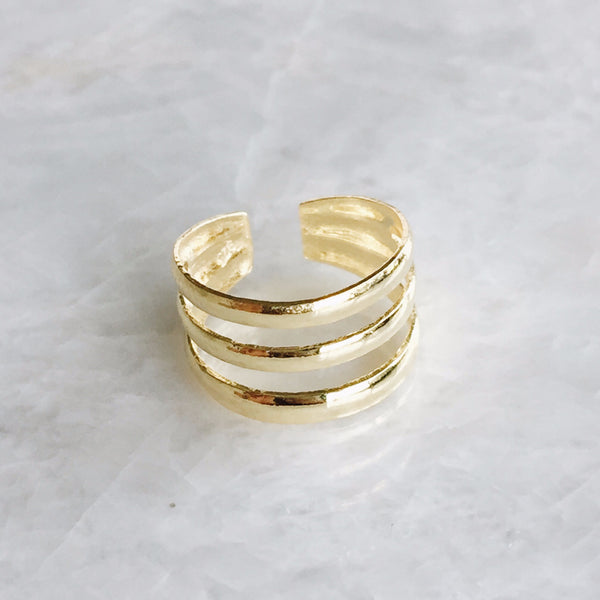 Triple Gold Toe Ring