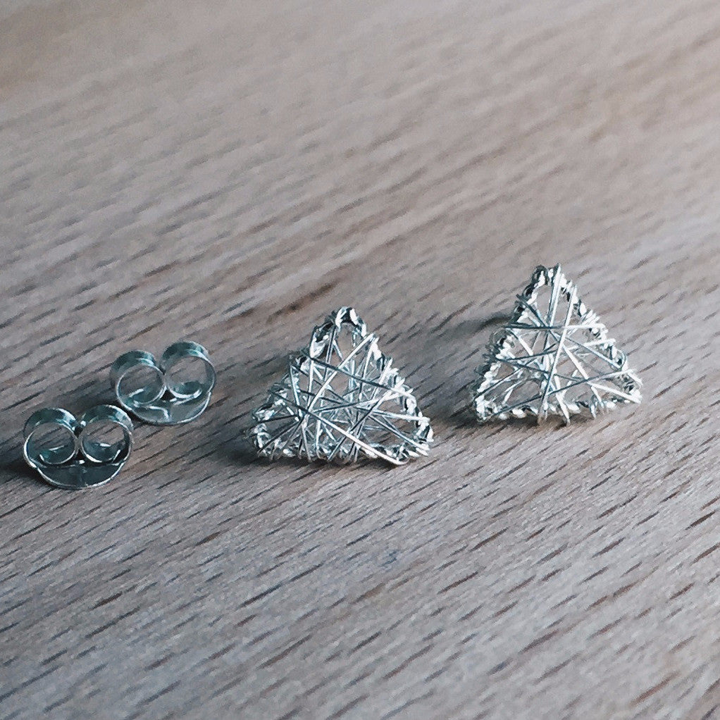 Silver Thread Triangle Studs