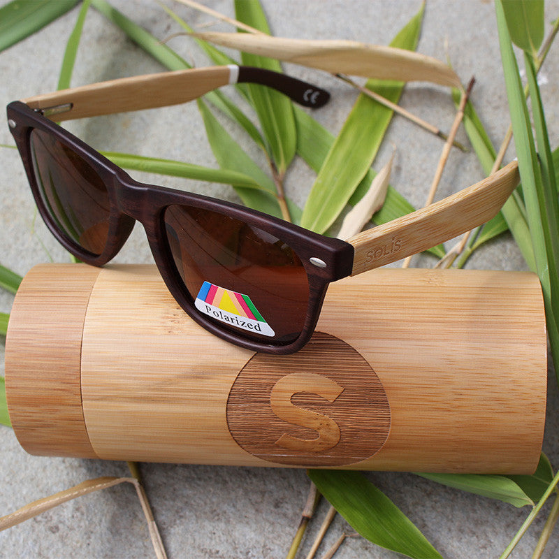 Polarised Bamboo Sunglasses & Case - Free Shipping - Solis Bamboo Sunglasses