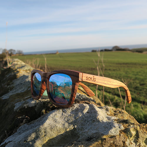 Woodstock: Mens Zebrawood Sunglasses - Solis Bamboo Sunglasses
