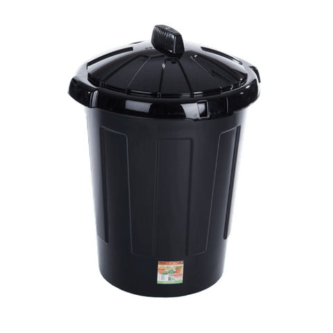 Black Plastic Dustbin / Waste Bin - Plastic Clip On Lid - 80 Litres