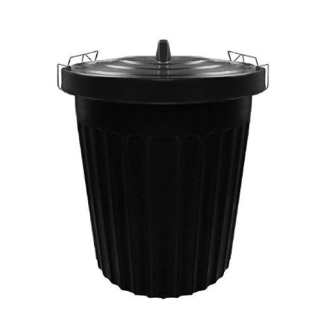 Black Heavy Duty Plastic Dustbin / Waste Bin - Metal Clamp Lid - 85 Litres
