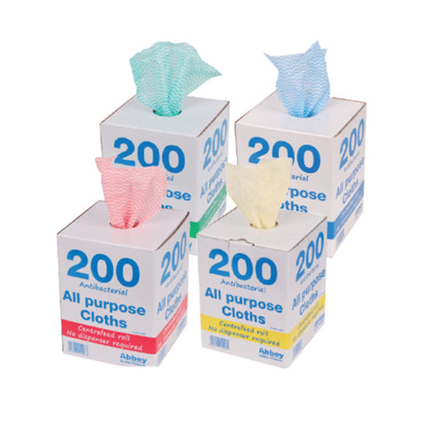 Abbey Antibacterial All Purpose Cloths - Centrefeed Dispenser Box 200