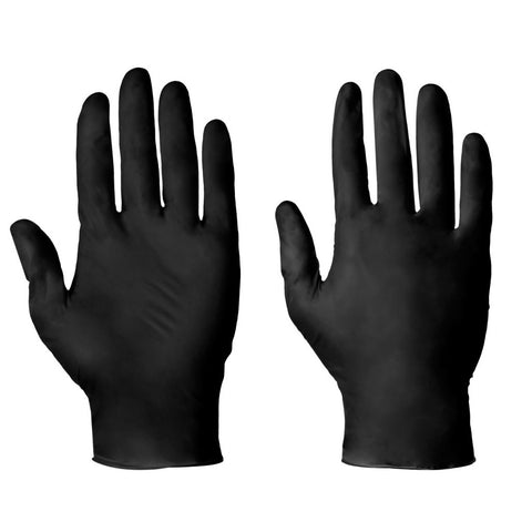 Nitrile Powder Free Heavy Duty Disposable Gloves - Black