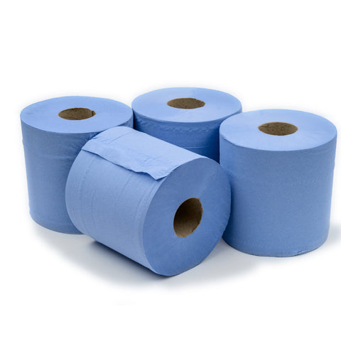 Blue 2 Ply Centrefeed Rolls (150m Roll) - 6 Pack