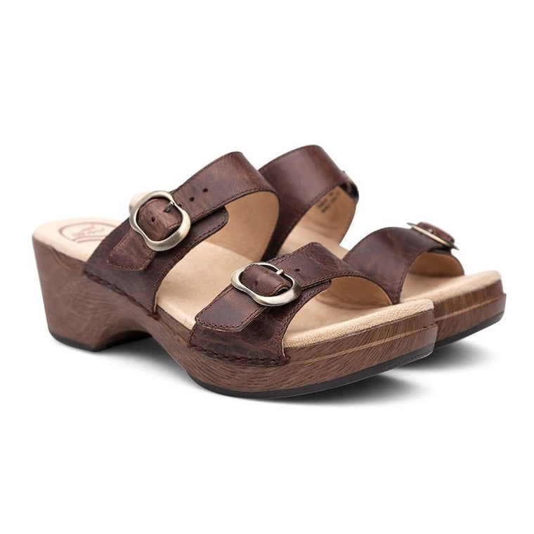 Dansko Women's Sophie Wedge Slide Sandal - Teak Vintage Pull Up