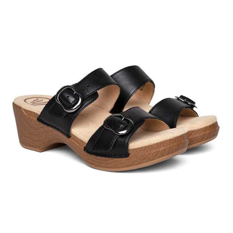 Dansko Women's Sophie Wedge Slide Sandal - Black Full Grain