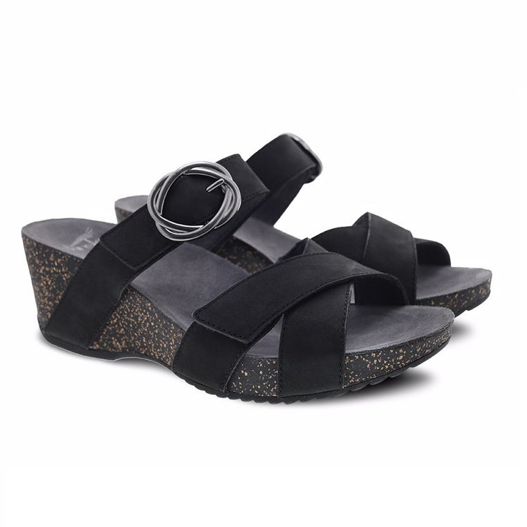 Dansko Women's Susie Wedge Sandal - Black Milled Nubuck