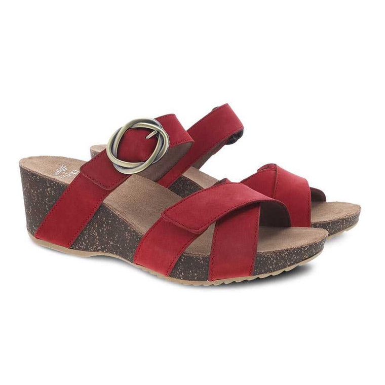 Dansko Women's Susie Wedge Sandal - Red Milled Nubuck